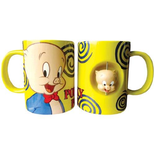 Westland Giftware 4-Inch Ceramic Spinner Mug, 12-Ounce, Looney Tunes Porky Pig