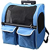 Pettom Pet Rolling Carrier Back Pack Airline Approved Dogs Cats Wheel Around Luggage Bag(Blue)