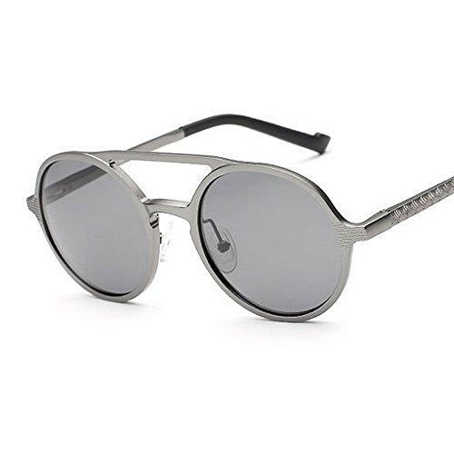 Colors 5 polarizadas de Unisex Classic Gray Retro Sun Sol Frame Color Black Gafas Metal Yxsd Gafas Round zHxtqvt