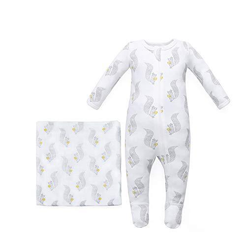 Owlivia Organic Cotton Baby Boy Girl 2 Pack Zip Front Sleep 'N Play, Footed Sleeper, Long Sleeve(6-12Months,2Squirrel) ()