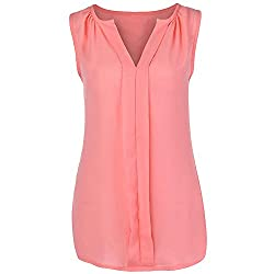 Women S Chiffon Vest Sleeveless Solid Color Tops Large Size Shirt Summer Casual Vest T Shirt Meeya Pink