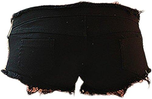 Mini Jeansian Persona Pantaloncini Donna Rock Calzoncini La Dei Bicchierini Denim Breve Hot Black Wpc002 Sexy Pants XrXqA