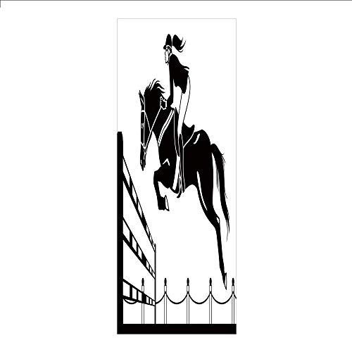 Decorative Privacy Window Film/Racing Horse with a Jockey Girl Jumping Above Barrier Barn Farming Image Print/No-Glue Self Static Cling for Home Bedroom Bathroom Kitchen Office Decor Black and White