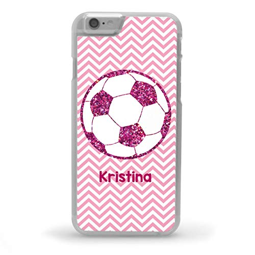 Custom Soccer iPhone 6/6S Case | Personalized Glitter Soccer Ball | Pink ()