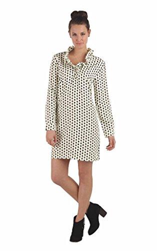 Mud Pie Womens Whitney Shift Dress with Ruffled Neckline, Black Ikat Dot, (Ruffled Shift)