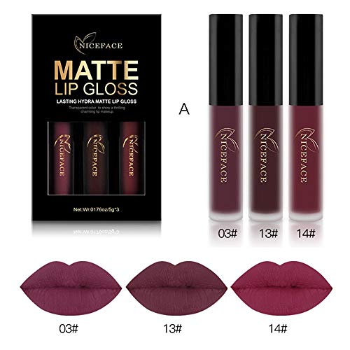 Coosa 3PCS of 3 Colors Madly MATTE Lipstick Non-stick Cup Waterproof Lipgloss-Set A (Best Matte Lipstick For Dark Skin)