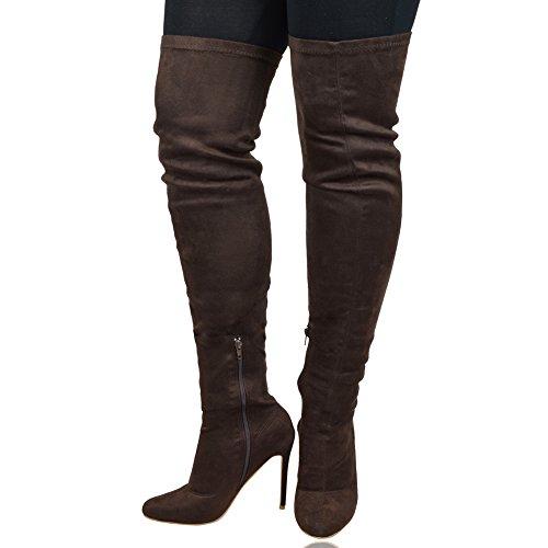 ESSEX GLAM Damen Stiletto Uber Das Knie Abend Wildlederimitat Stiefel Braun Wildlederimitat
