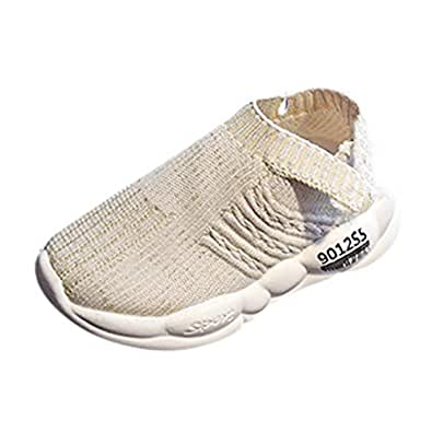Sneaker Trainers Knitting Shoes for Kids, Kindergarten Child Slip Shoes Soft Sole Toddler Breathable with 70% Traimer Discount Without Lace, FULLSUNNY Beige