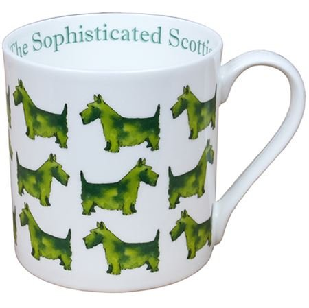 Milly Green The Sophisticated Scottie Large Fine Bone China Mug - Hand Decorated in UK