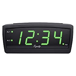 Equity by La Crosse 30229 LED Digital Alarm Clock, 0.9-Inch, Green