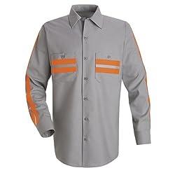 Red Kap Men's Enhanced Visibility Shirt, Navy with Orange Visibility Trim,  3X-Large
