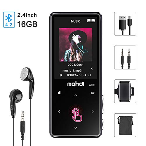 MP3 Player Bluetooth 4.2 16GB 2.4-Inch Screen Portable Lossless Digital Music Player with FM Radio/Recorder/Video Player/Text Reading, Built-in Speaker, Zinc Metal Shell Touch Button [Jimwey]