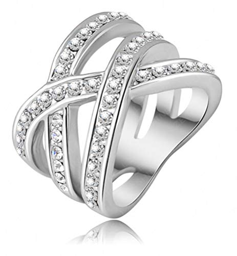 Pave Platinum Cross - TEMEGO Platinum-Plated Silver Double Criss Cross X Ring for Women,Simulated Diamond Pave CZ Crystal Ring
