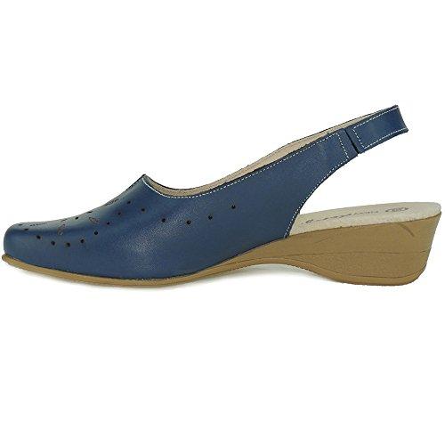 SEVA - Zapato Cuña Y Talón Descubierto - Modelo 1842 MARINO