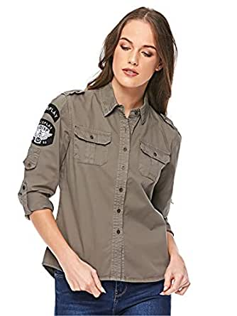 Diva London Cindi army Shirt - XL, GREEN