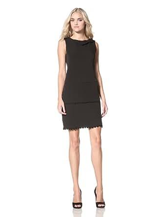 Marina Womens Sleeveless Crepe Dress, Black, 4