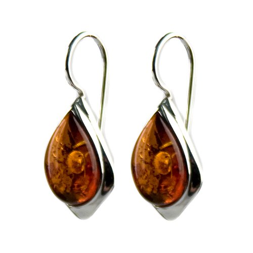 Honey Amber Sterling Silver Hook Earrings by Ian & Valeri Co.