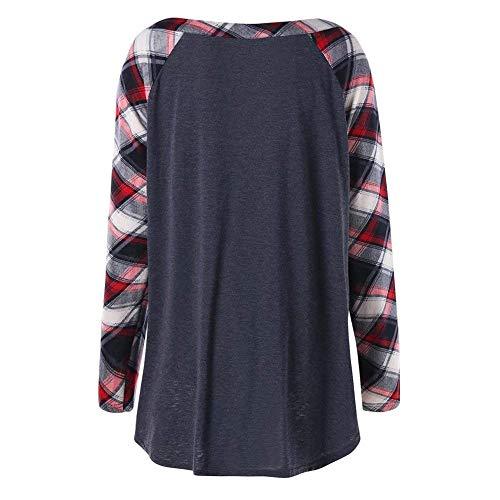 Shirts Longues Slim Shirt Party Tunique Cou Carreaux Jeune Printemps Fit Tops Vintage Mode Tee Femme Blouse Haut V Automne Hipster Manches Dunkelgrau qwt6vtA