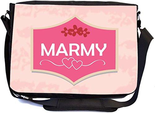 Rikki Knight marmy Name auf rosa Gedenktafel mit roten Blumen & Herzen Design, Schule Tasche (mbcp-cond43781)