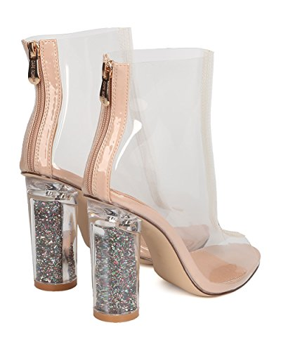 by Lucite Transparent Block Heel Cosplay CAPE Heel Ankle Glitter Dressy Women Boot ROBBIN Party Bootie GD05 6xCqwZt