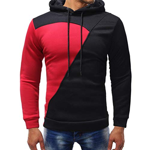 kaifongfu Hoodie Tops,Men's Solid Color Patchwork Long Sleeve Sweatshirt Outwear Top Blouse (Red,2XL) (Basketball Shoes T-mac)