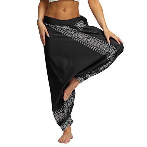 Beyonds Women's Boho Pants Hippie Clothes Yoga Outfits Peacock Design, Women Loose Yoga Wide Leg Hippie Pants Travel Lounge Casual Beach