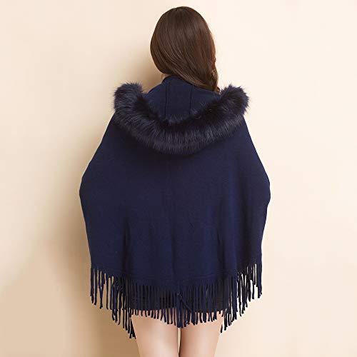 Liulife Cappuccio Maglia Maglione Nappa Poncho Pelliccia Scialle Delle Di Inverno Mantello Con Autunno Cappotto Blue Donne In Collo PqHrOSPZ