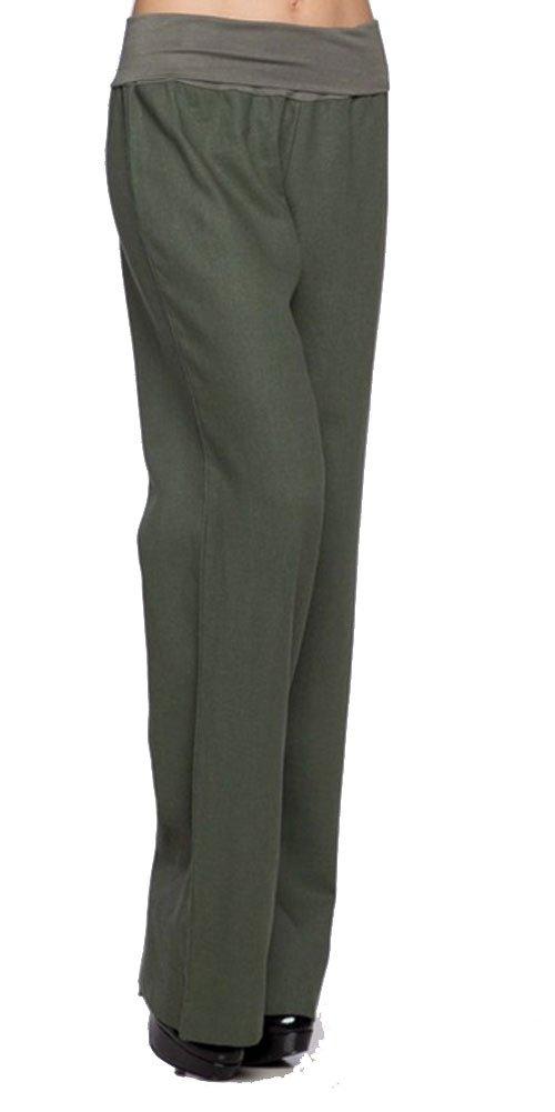 Love Tree Women's Fold-Over Waist Linen Pants, Olive, Small