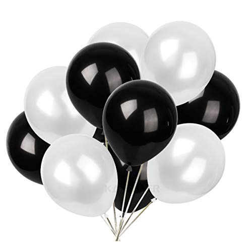 Pearl Black Latex - 12 inch pearl latex balloons white and black balloons 30 pcs