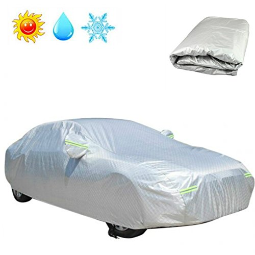 Enshey Universal Car Cover -Sedan Cover Waterproof/Windproof/Dustproof/Scratch Resistant Outdoor UV Protection All Season All Weather Protection Vehicle Cover Fits (All Season Vehicles)