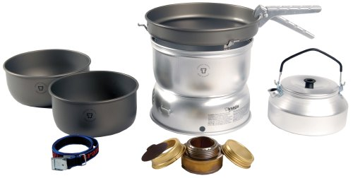 Trangia - 25-8 Ultralight Hard Anodized Camping Cookset | Includes: Alcohol Stove, 2 HA Pots, HA Frypan, Kettle, Upper & Lower Windshield, Pot Gripper, & Strap
