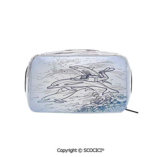 - Travel Cosmetic Bag Portable Makeup Pouch Sketch of Scuba Diver Holding Fin of Dolphin over Coral Reefs Fish Underwater makeup clutch for Girls Ladies Women