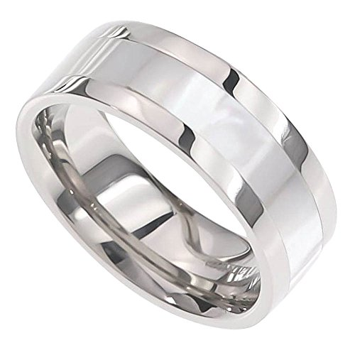FlameReflection 8mm Men's Titanium Ring Wedding Band High Polish Mother-of-Pearl Inlay size 11 SPJ
