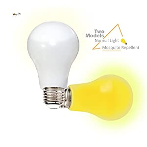 GLOUE Bug Light 6W Mosquitoes Repellent Bug Lamp Liquid Cooled LED Light Bulbs Breakproof Yellow Light Dual-Model with Normal White Light Non-Dimmable