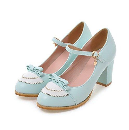 AllhqFashion Damen Rund Zehe Schnalle PU Gemischte Farbe Mittler Absatz Pumps Schuhe Himmelblau