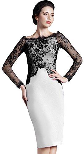 Homeyee de la mujer elegante encaje manga larga ronda cuello delgado vestido corto formal Vintage Lápiz Vestido O803 blanco