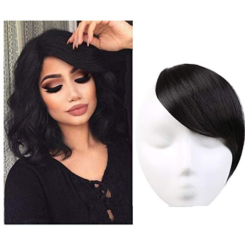 Clip in Hair Bangs Fringe Hair Extensions Swept Full Sweeping Side Synthetic Hairpiece Hair Piece For Women Japan High Temperature Fiber SARLA B2&1B