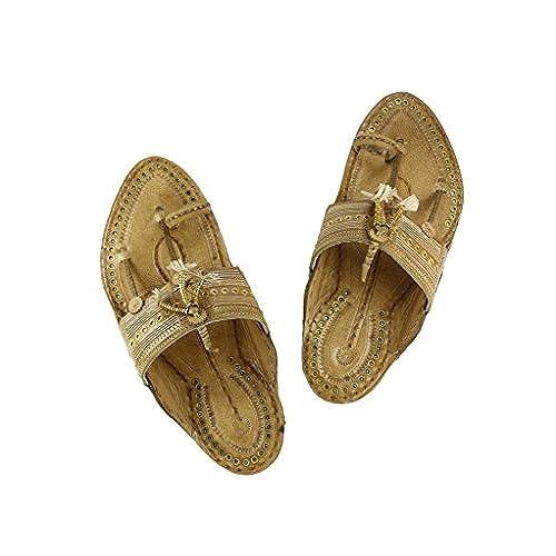 08160a55c17 durable modeling Charming artist s tan color golden design kolhapuri  chappal for men. men · Sandals