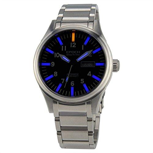 EPOCH 7016G steel strap waterproof 100m tritium blue luminous steel strap mens business mechanical watch - Silver -  7016G Silver Blue