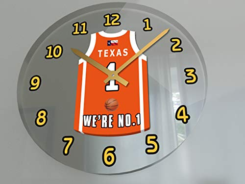 (FanPlastic College Basketball USA - We're Number ONE College Hoops Wall Clocks - Support Your Team !!! (Texas Longhorns))