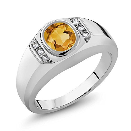 Sterling-Silver-Genuine-Oval-Yellow-Citrine-White-Created-Sapphire-Mens-Ring-Available-in-size-9-10-11-12-13-116-cttw