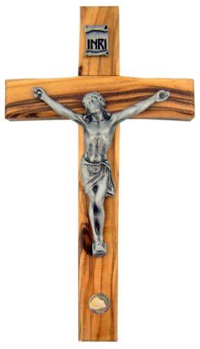 5 Inch Handcrafted Olive Wood Cross with Bethlehem Stone Hanging Crucifix (Stone Crucifix)