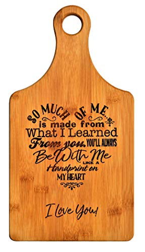 Mothers Gift - Special Love Heart Poem Bamboo Cutting Board Design Mom Gift Mothers Day Gift Mom Birthday Christmas Gift Engraved Side For Décor Hanging Reverse Side For Usage (7x13.5 Paddle)