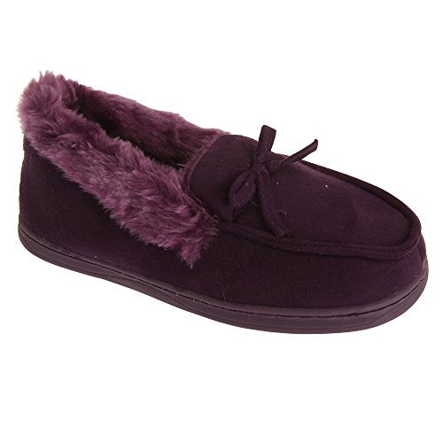 On Pink Womens Fur Style Slippers Ladies Lined SlumberzzZ Moccasin Slip qS1tqz