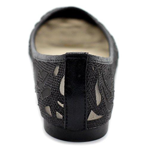 Ollio Chaussures Femme Maille Floral Paillettes Ballet Plat Noir