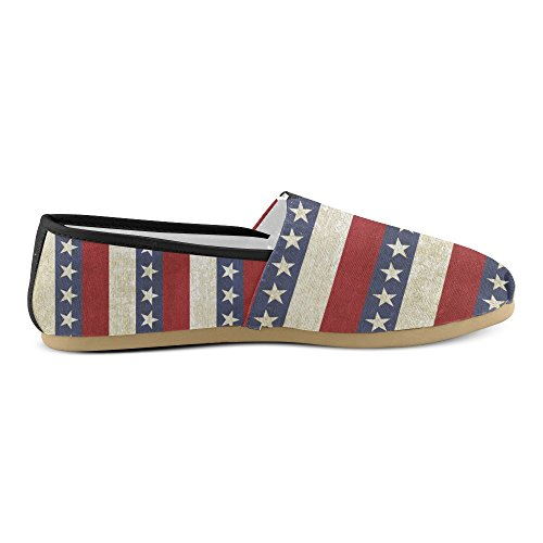 D-story Sneakers Moda Flats Womens Classic Slip-on Canvas Mocassini A Righe Stelle