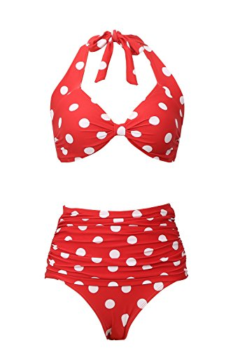 (Bathing Suit High-Waist Two-Pieces Swimsuits for Women Bikini Swimwear Vintage Dots Printing Red)