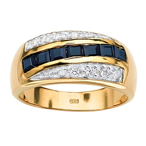 Men's 18K Yellow Gold over Sterling Silver Square Cut Genuine Blue Sapphire and Cubic Zirconia Ring Size 7 ()