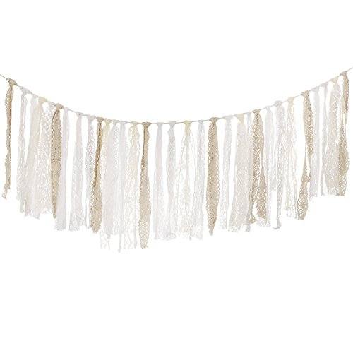 Ling's moment Lace Tassel Garland, Rag Tie Banner, Baby Shower, Fall Thanksgiving Decor Rustic Wedding, Event & Party Supplies, Shabby Chic Banner, Boho Chic Lace Bunting 4FT (Cream+Ivory+White) (Lace Tassel)