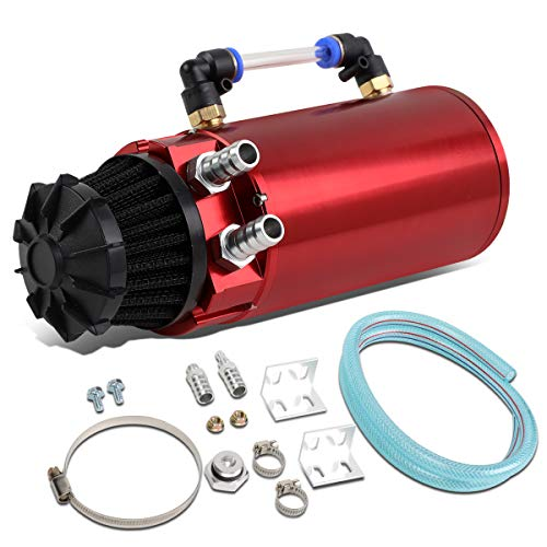 - Universal Aluminum Engine Oil Catch Can Reservoir Tank w/Breather Filter Baffled (Red)